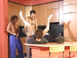 Dual Fuck In The Brand Fresh Kitchen