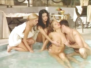 Black Widow, Katalin And Rita Faltoyano Bathe Together Before A Facial Cumshot