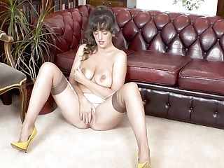 Dark Haired Natural Big Tits Kate Anne Masturbates In Infrequent Nylons And High-heeled Slippers